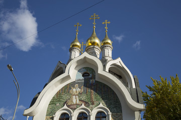 Gold domes of orthodox church in Moscow