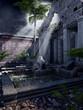 Ruiny świątyni z palmami i paprocią