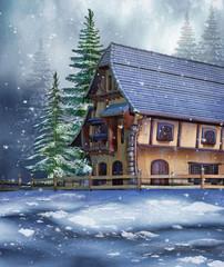 Kolorowy domek w zimowym lesie