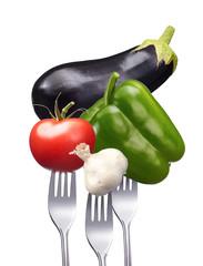 Gemüsesorten auf Gabeln