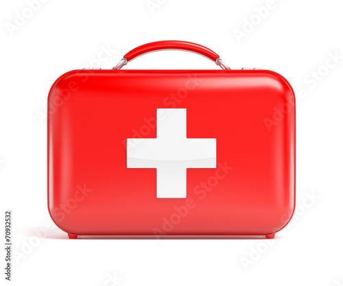 Leinwanddruck Bild Red first aid kit