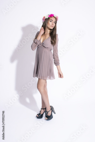 canvas print picture elegant girl in studio