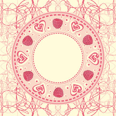 Circular frame ornament with hearts and raspberries