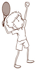 A simple drawing of a tennis player