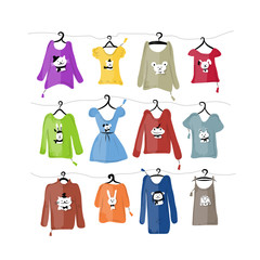 Set of clothes on hangers with funny animal design