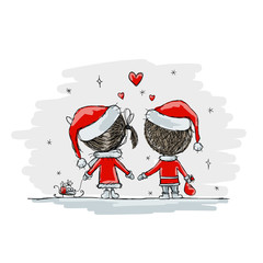 Couple in love together, christmas illustration for your design
