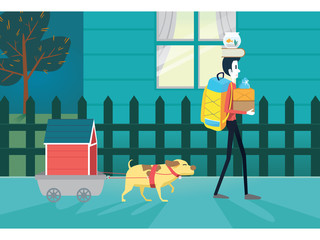 Man and his pet moving resident