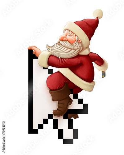 canvas print picture Santa Claus and shopping on-line