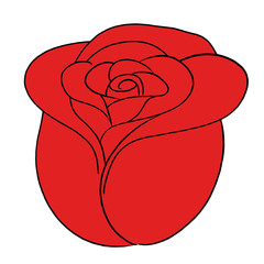cartoon vector flower rose red