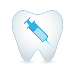 Tooth with a syringe