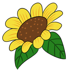 cartoon vector flower sunflower yellow