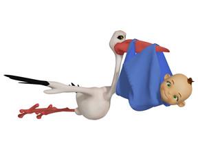 Cartoon stork with baby boy