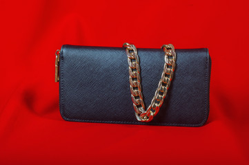 purse and a necklace on a red background