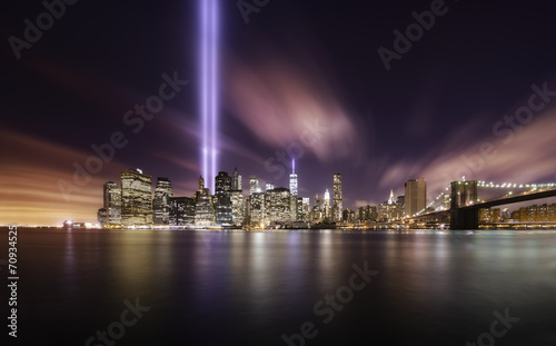Foto op Plexiglas New York City 9-11 Tribute lights,Manhattan New York
