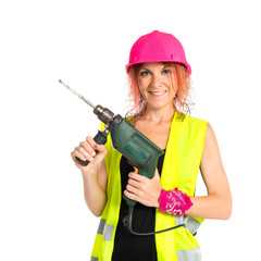 Worker woman with drill over white background