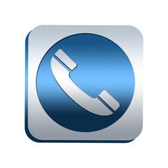 Bouton chromé : téléphone