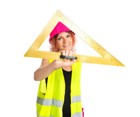Worker woman with bevel over white background