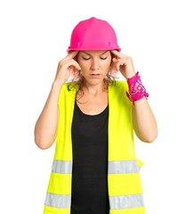 frustrated worker woman over isolated white background