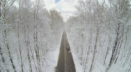 Road with car in big winter forest with frosted trees.