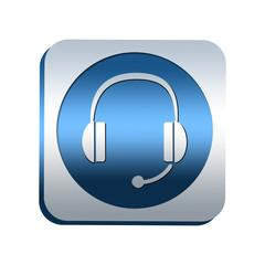 Bouton chromé : casque audio