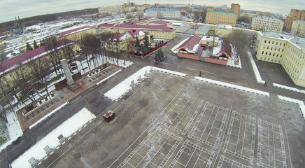 Army garrison with plateau in front of barracks at winter
