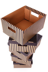 Striped boxes on a white background