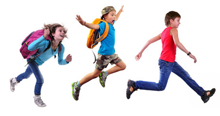 group of happy school children or travelers running together