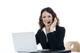 Woman customer service worker, call center smiling operator - 70938520