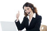 Woman customer service worker, call center smiling operator - 70938532