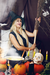 blonde witch with a broom, tinted