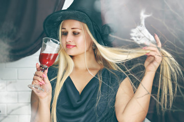 witch with a glass of blood, tinted