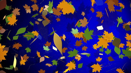 Abstract autumn leaves on a blue background