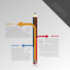 infographic design template with pencil. Vector