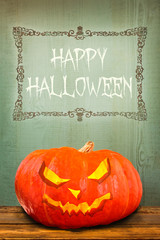 Pumpkin with Happy Halloween greeting
