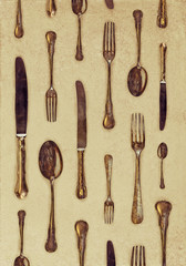 Vintage styled image of forks, knives and spoons