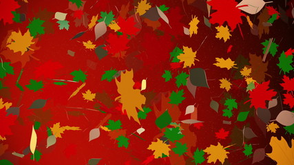 Abstract autumn leaves on a red background