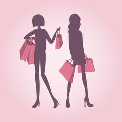 Girls fashion shopping illustration