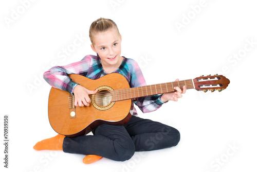 canvas print picture MMädchen mit Gitarre