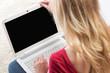 canvas print picture - Frau mit Laptop