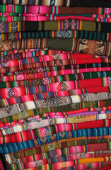 South American traditional fabric in a shop, La Paz, Bolivia