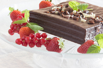 Red berries and chocolate cake