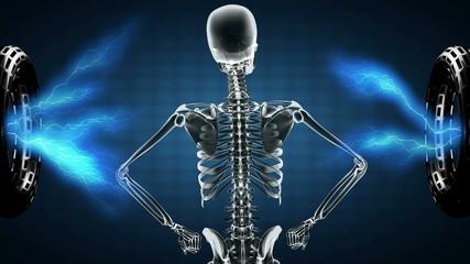 human skeleton radiography scan on hologram