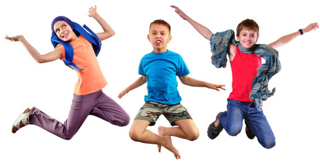 isolated group portrait of running  and jumping children