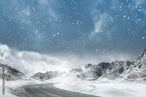 canvas print picture Winter Driving - Winter Road