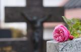 Grabstein mit Rose