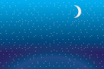 Vector Gökyüzü Gece Yıldız ve Ay