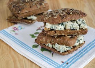 Sandwich with cheese Roquefort