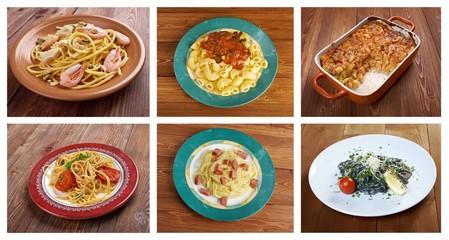 Food set of different  pasta.
