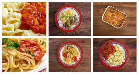 Food set of different  pasta.