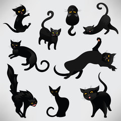 Set of black cats